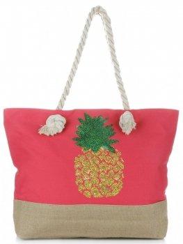 Modna Plażowa Torba Damska Ananas Czerwona