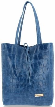 Vittoria Gotti Włoski Shopper XL Uniwersalna Torba Skórzana do noszenia na co dzień z modnym motywem Żółwia Jeans