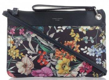 Firmowe Listonoszki Damskie we wzór kwiatów marki David Jones Multikolor Granatowa