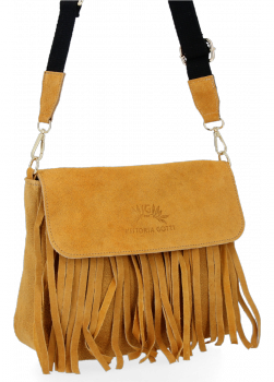 Modna Listonoszka Skórzana z Frędzlami firmy Vittoria Gotti Jasno Ruda