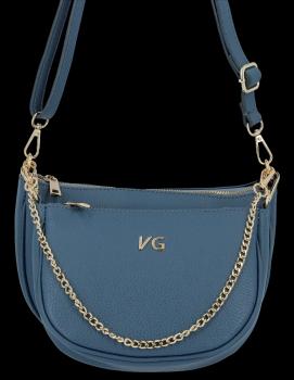 Modne Torebki Skórzane Listonoszki 2w1 firmy Vittoria Gotti Made in Italy Niebieska