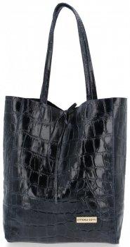 Vittoria Gotti Włoski Shopper XL Uniwersalna Torba Skórzana do noszenia na co dzień z modnym motywem Żółwia Granatowa
