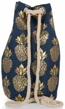 Modny Plecak Damski Pojemny Worek XL w modny wzór Ananasów Granatowo Złoty