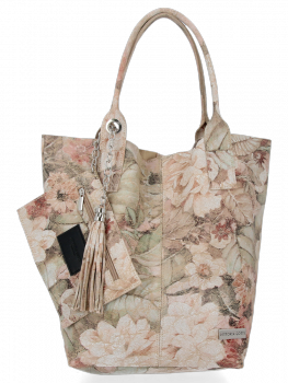 Modna Torebka Skórzana Shopper Bag w kwiaty firmy Vittoria Gotti Beżowa