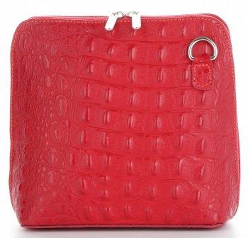 Włoska Torebka Skórzana Listonoszka firmy Genuine Leather we wzór Krokodyla Czerwona