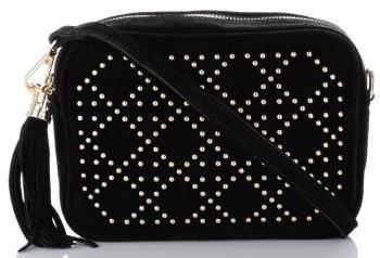 Módna kožená taška Vittoria Gotti, vyrobená v Taliansku s dekoratívnymi nitmi, Čierna