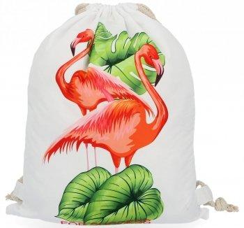 Dámske batohy praktická taška s módnym Plameniakovým vzorom Biela