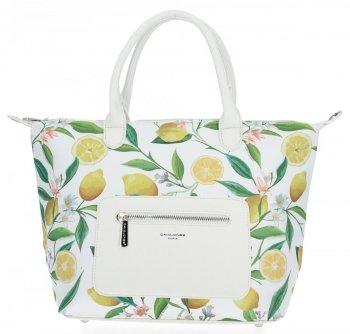 Módna dámska taška s kvetinovým vzorom David Jones biela