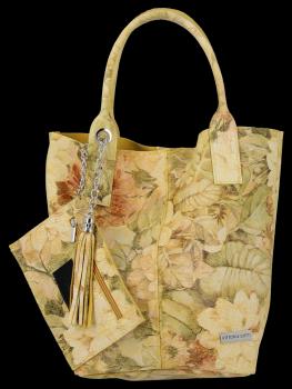 Módna kožená nákupná taška s Kvetinovou potlačou Vittoria Gotti žltý