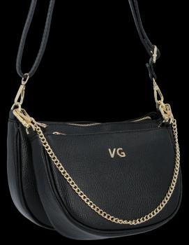 Módne kožené tašky 2 v 1 od spoločnosti Vittoria Gotti, vyrobené v Taliansku, čierne