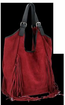 Módna kožená taška Shopper s okrajmi od Vittoria Gotti Burgundska