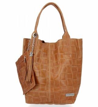 Módna kožená taška Shopper XL tašky s vreckom od Vittoria Gotti Ruda