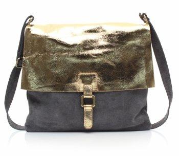 Módne messenger tašky kožené šedé so zlatom