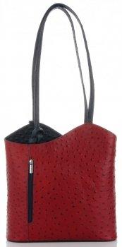 Talianska pravá kožená taška Červená S tmavo modrou farbou