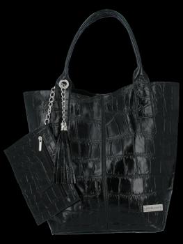 Univerzálna Kožená taška XL Shopper taška v Vittoria Gotti zviera tému čierna