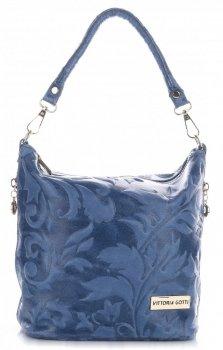 VITTORIA GOTTI vyrobené v Taliansku kožené messenger taška v reliéfne denim vzory