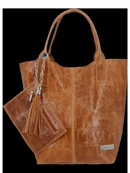 Univerzálna Kožená taška XL Shopper v štýle zvierat od Vittoria Gotti Ruda