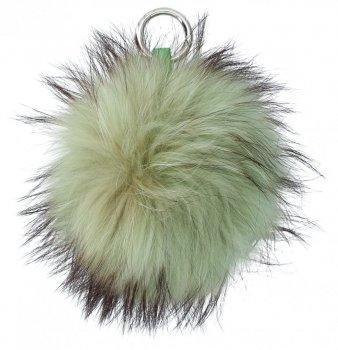 Kľúčenka na tašky veľký Pompom z prírodných vlasov mýval pes zelený
