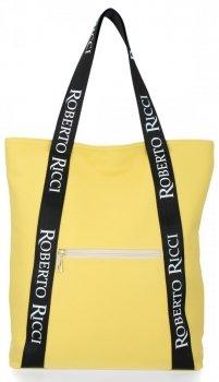 Dámska nákupná taška s módnymi popruhmi Roberto Ricci Žltá