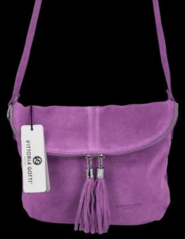 Vittoria Gotti univerzálna Kožená príležitostná taška Messenger vo veľkosti M Fialová