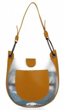 David Jones módna dámska taška s kozmetickou taškou Žltá
