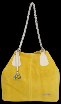 Módna kožená taška Vittoria Gotti exkluzívna Kupujúci vyrobená v Taliansku Žltá