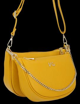 Módne kožené crossbody tašky 2 v 1 od Vittoria Gotti vyrobené v Taliansku žlté