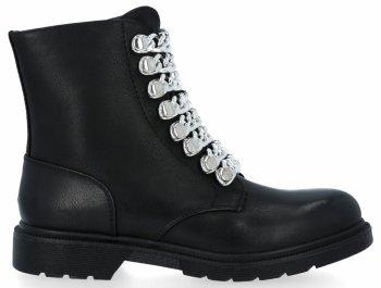 Čierne a strieborné Dámske členkové topánky s reťazami Luna