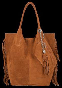 Módna kožená nákupná taška vyrobená zo semišu v Boho štýle od Vittoria Gotti Ruda