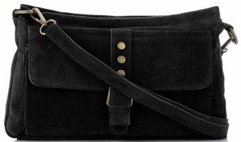 Vittoria Gotti Kožená taška Messenger pre všetky príležitosti Čierna