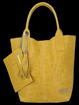Módne kožené tašky Shopper taška XL S Vittoria Gotti taška Žltá