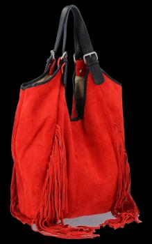 Módne kožené tašky Shopper Bag so strapcami od Vittoria Gotti červený