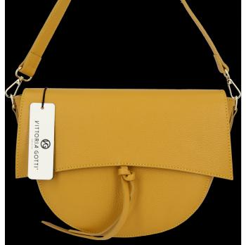 Elegantná Kožená taška Vittoria Gotti vyrobená v horčici v Taliansku