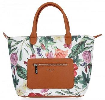 Módna dámska taška s kvetinovým vzorom David Jones ruda