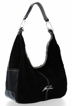 Univerzálna Dámska príležitostná taška Velina Fabbiano pravá semišová / eko koža Strieborná s čiernou