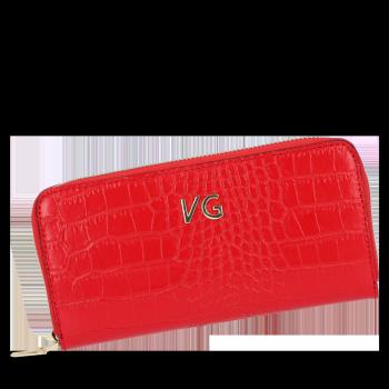 Vittoria Gotti Elegantné značkové kožené Dámske peŘaženky v aligátorovej téme Červená