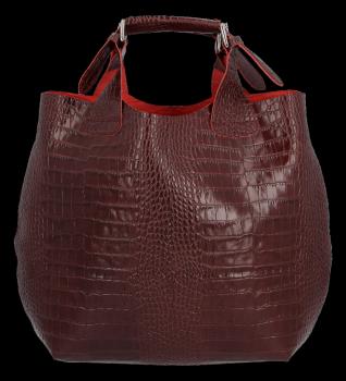 Exkluzívna talianska nákupná Kožená taška Vittoria Gotti v módnom aligátorovom dizajne s vínovou kozmetickou taškou