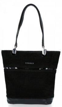 Klasická Dámska príležitostná taška Silvia Rosa pravá semišová / eko-koža čierna