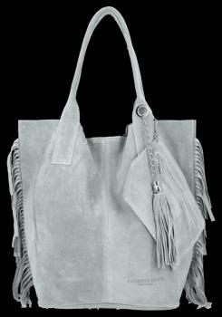 Módna kožená nákupná taška vyrobená zo semišu v Boho štýle od Vittoria Gotti svetlo šedá