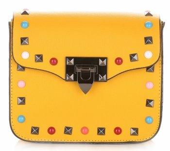 Módne talianske kožené Crossbody tašky s farebným remienkom Žltá