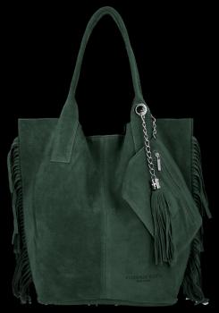 Módna kožená taška shopper vyrobená zo semišu v Boho štýle od Vittoria Gotti Bottle zelený