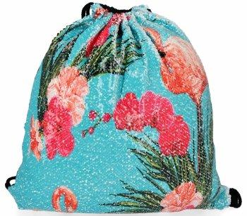 Módne batoh dámska taška s flitrami Flamingo Modrá