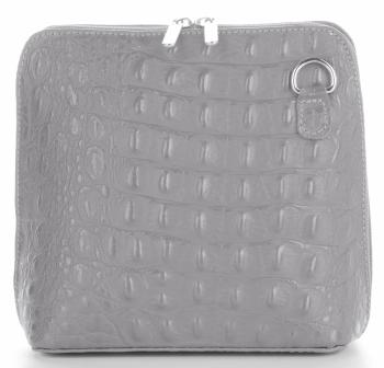 Talianska Kožená taška na messenger vyrobená z pravej kože s krokodílovým vzorom svetlošedá