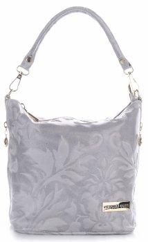 VITTORIA GOTTI vyrobené v Taliansku Kožená taška na messenger v reliéfnych vzoroch svetlo šedá