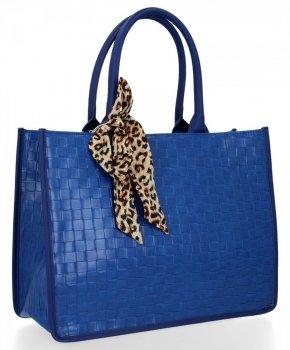 Módna dámska taška s šatkou na krk od Herisson modrý