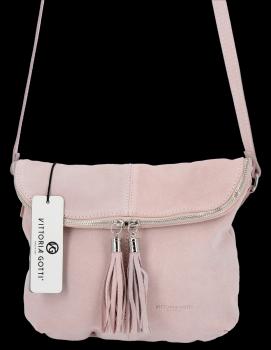 Univerzálna Kožená príležitostná taška na Messenger veľkosť M od Vittoria Gotti prášková ružová