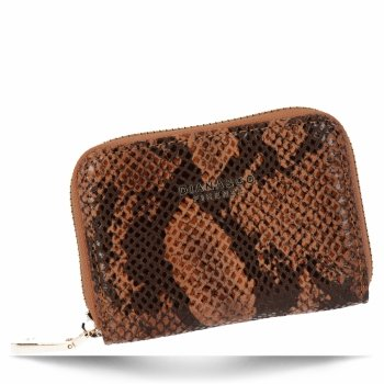 Ekskluzywny Mały Portfel Damski w motyw węża firmy Diana&Co Brązowy