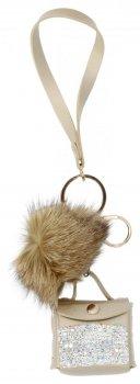 Kľúčenka módna kabelka so strapcom a zlotými kamienkami