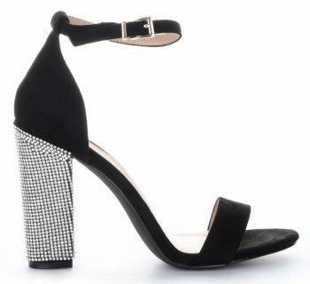 Bellucci módne dámske vysoké podpätky čerpadlá s kamienkami Čierna