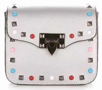 Módne talianske kožené Crossbody tašky s farebným strieborným remienkom